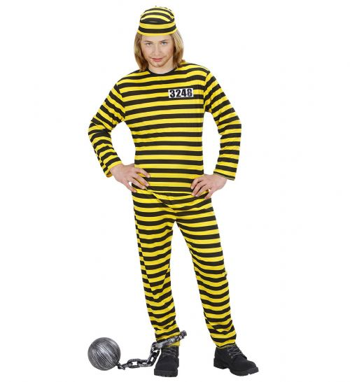 Childrens Convict Costume - Black/Yellow Police Fancy Dress